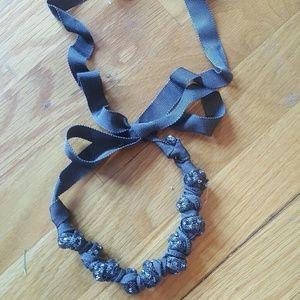 NWOT J Crew Ribbon Rhinestone Knot Necklace
